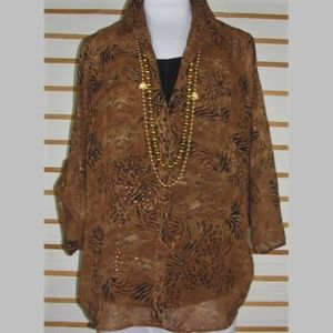 Semi sheer buttoned artsy animal print blouse
